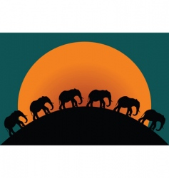 silhouette of elephants vector image