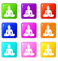 statue of buddha sitting in lotus pose icons 9 set vector image