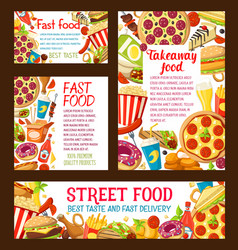 Strert food fastfood takeaway posters vector