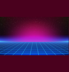 Synthwave background retro futuristic backdrop vector