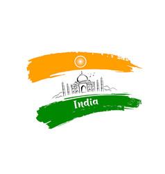 taj mahal sketching drawing flag india vector image