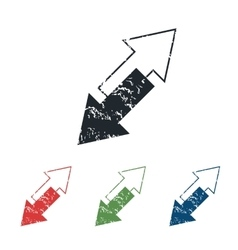 Tilted arrows grunge icon set vector image