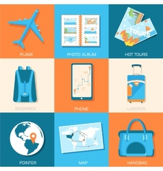 Tourism icons set concept Tourism with fast travel vector