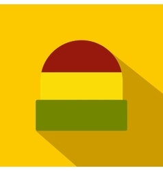 Tricolor rasta cap icon flat style vector