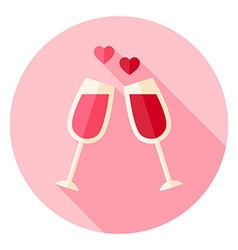 Two Glasses with Wine Circle Icon vector image