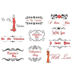 Valentines Day elements and decorations vector image