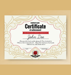 vintage elegant certificate of achievement with vector image