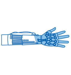 Virtual reality with thin line hands up concept vector
