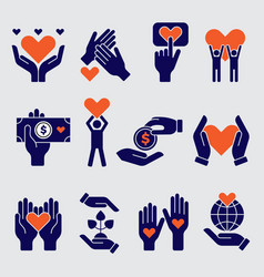 volunteers icon hands hearts donation charity vector image
