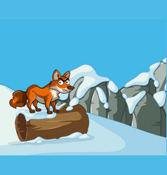Wild fox on snow mountain vector