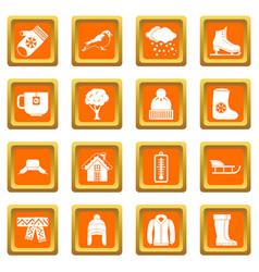 Winter icons set orange vector