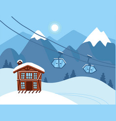 winter vacation landscape mountain ski resort vector image