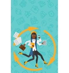 Woman coping with multitasking vector