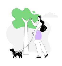 Woman walking dog and listening music on vector