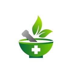mortar pestle logo logotype medicine pharmacy vector image vector image