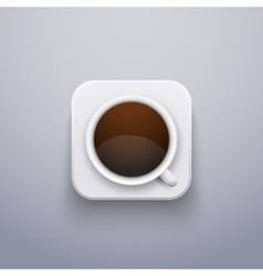 Realistic Coffee Cup Icon for Web or Application vector image vector image