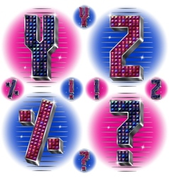 Volume letters YZ and signs with shiny rhinestones vector image