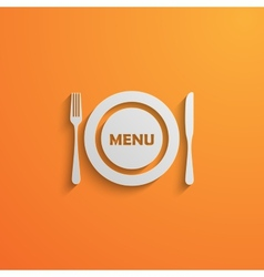 with a plate and cutlery 3d paper design style vector image vector image