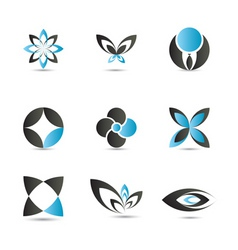 blue logo elements vector image