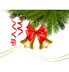 christmas card with bells and bow vector image