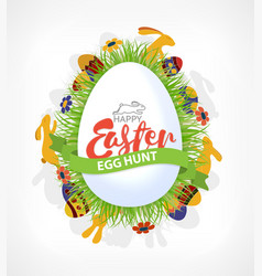 happy easter eggs hunt poster or card with rabbits vector image vector image