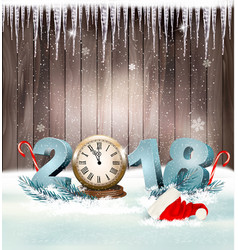 happy new year 2018 background with santa hat and vector image vector image