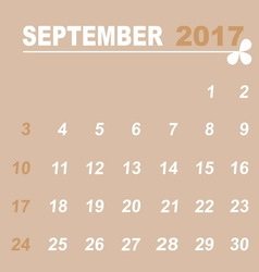 Simple calendar template of september 2017 vector image vector image