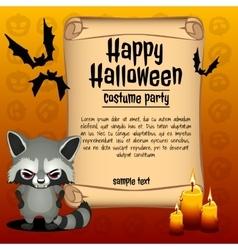 Banner happy Halloween and angry raccoon vector image