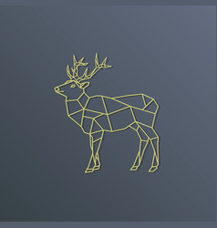 deer polygon golden silhouette on gray background vector image