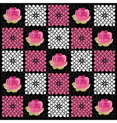 Floral pattern with lotus hand-drawing Geometric vector image vector image