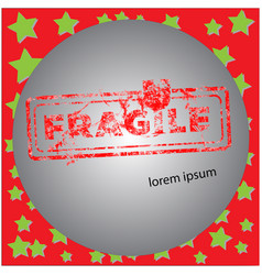 fragile red grunge rubber stamp vector image