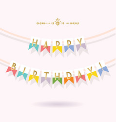 golden and colorful happy birthday bunting banners vector image vector image