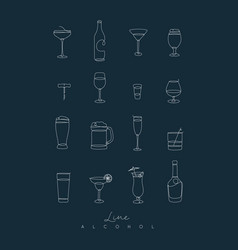 pen line alcohol icons dark blue vector image