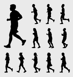 People running silhouettes set vector