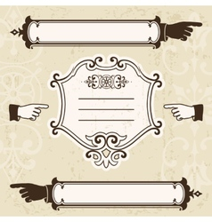 Vintage design elements with pointing vector image