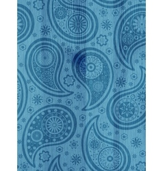 Wooden background with paisley pattern vector image