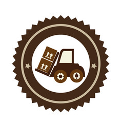 Color circular emblem with forklift truck with vector