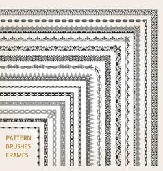 corner border frame line pattern brushes 1 vector image vector image