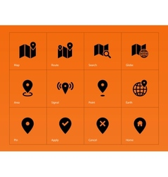 Map icons on orange background vector image vector image