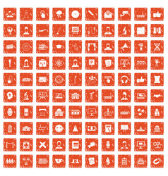 100 conference icons set grunge orange vector image