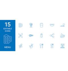 15 menu icons vector image