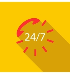 24 hours service sign icon flat style vector