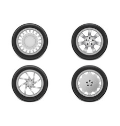 3d realistic black tyre with tread vector image