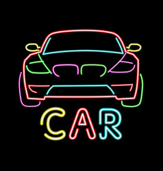 Abstract retro sign car neon sign vintage vector