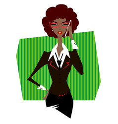 African woman in suit talking on phone vector