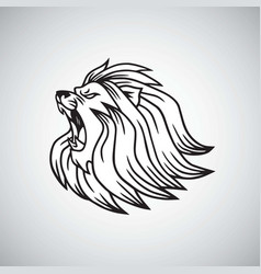 angry lion head roaring logo mascot design vector image