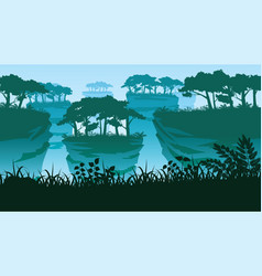 background with rock pillars and forest vector image