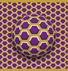 ball with a hexagons pattern rolling along the vector image