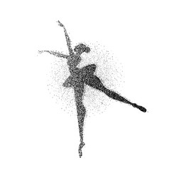 ballet dancer girl particle splash silhouette vector image