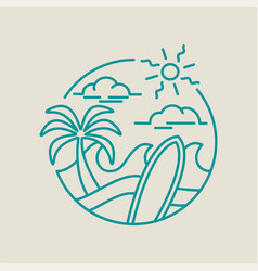 beach surf icon for summer vacation in line art vector image